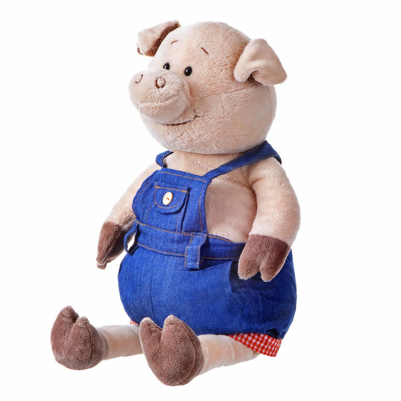 Свинка в джинсовом комбинезоне, 45 см, «Same Toy» (THT711)