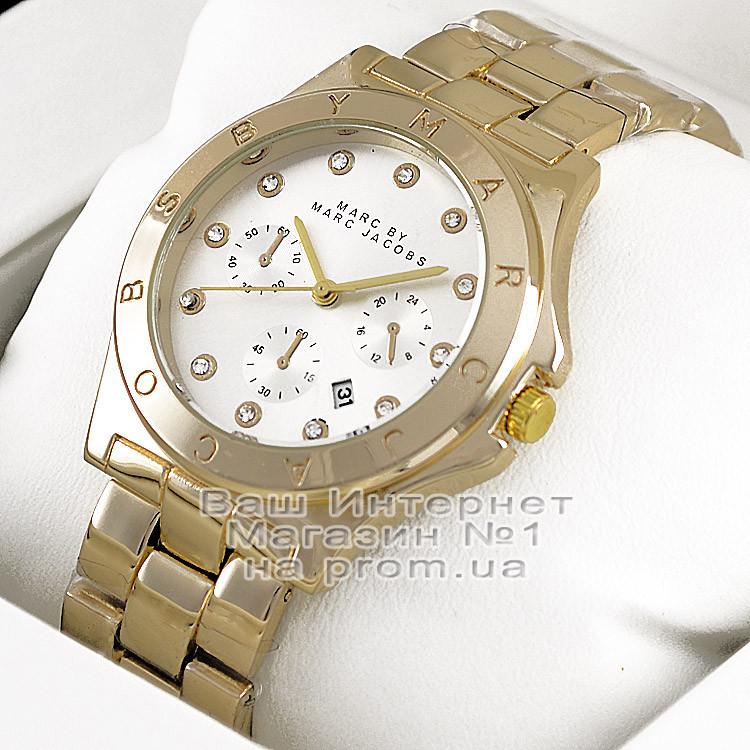Жіночі наручні годинники Marc Jacobs Quartz Gold White Dimond унісекс Марк Джейкобс капчественные преміум репліка