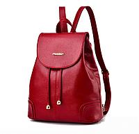 Рюкзак женский кожзам в стиле Miamin на шнурке Красный, фото 1