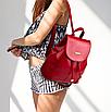 Рюкзак женский кожзам в стиле Miamin на шнурке Красный, фото 2