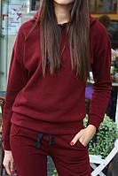 Женская теплая толстовка - худи с капюшоном цвета марсала
