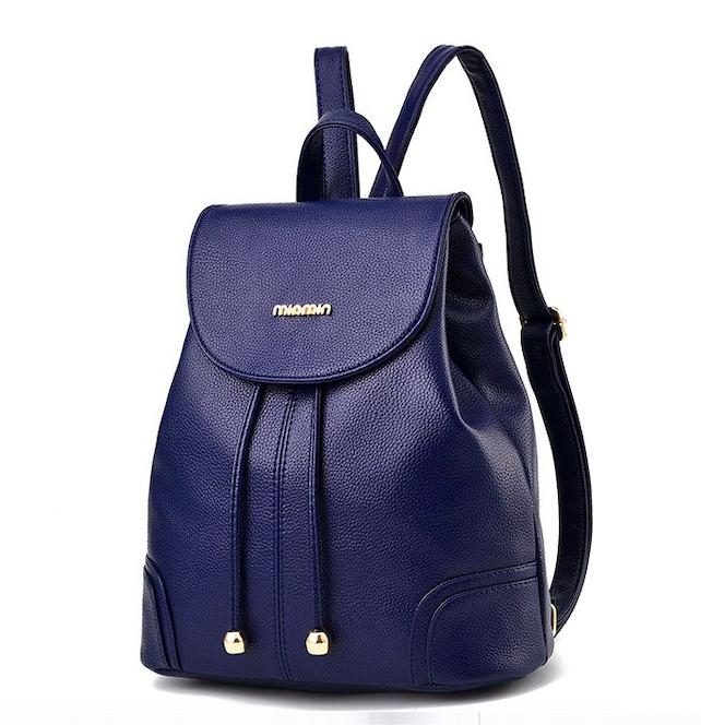 Рюкзак женский кожзам в стиле Miamin на шнурке Синий