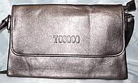 Женский бронзовый клатч Toscco из искусственной кожи 28*17 см (3 отдела внутри), фото 1