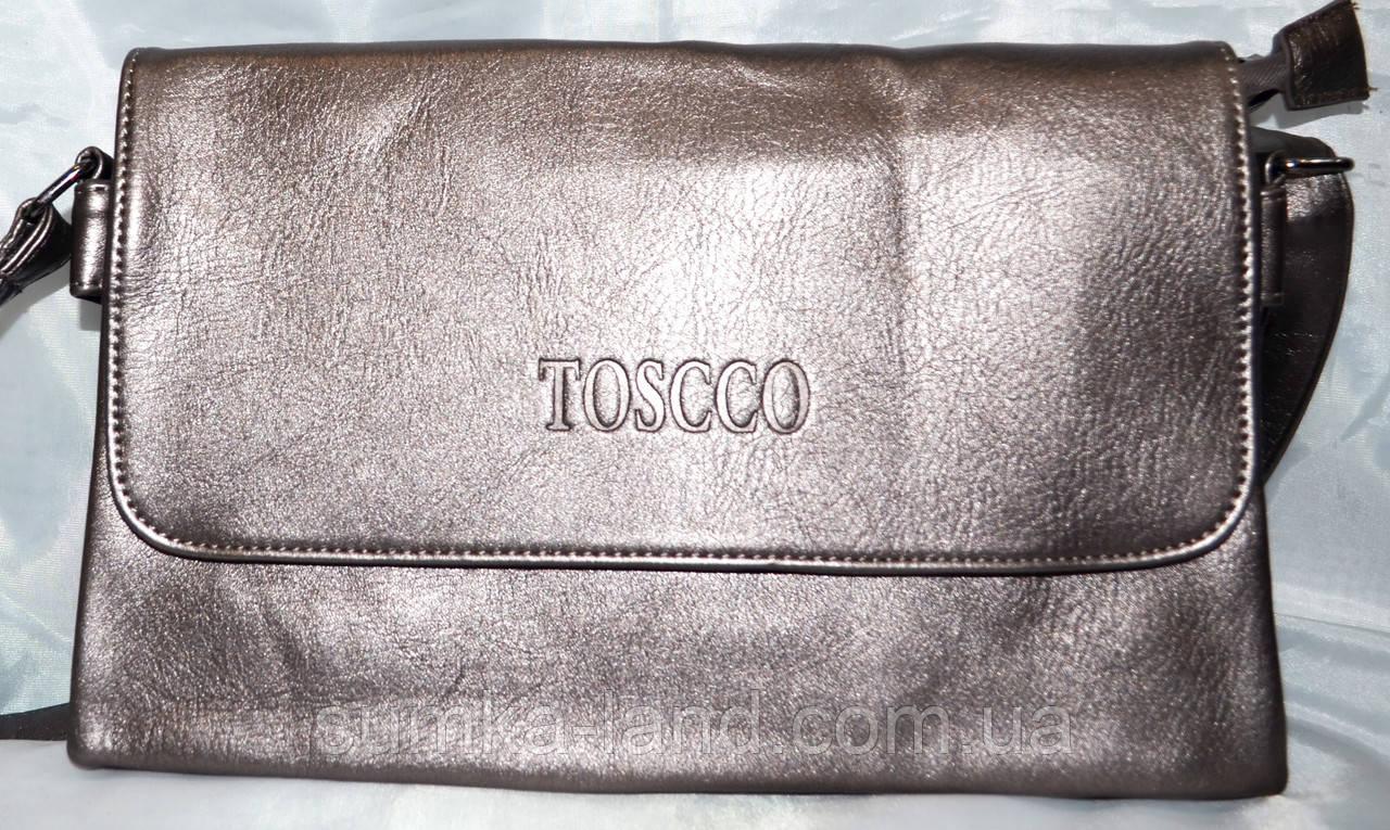 Женский бронзовый клатч Toscco из искусственной кожи 28*17 см (3 отдела внутри)