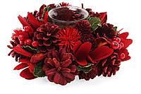 Подсвечник с декором из хвои и цветов, красный. 21см, набор 6 штук