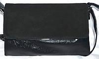 Женский черный клатч из натуральной замши 27*16 см (3 отдела внутри), фото 1