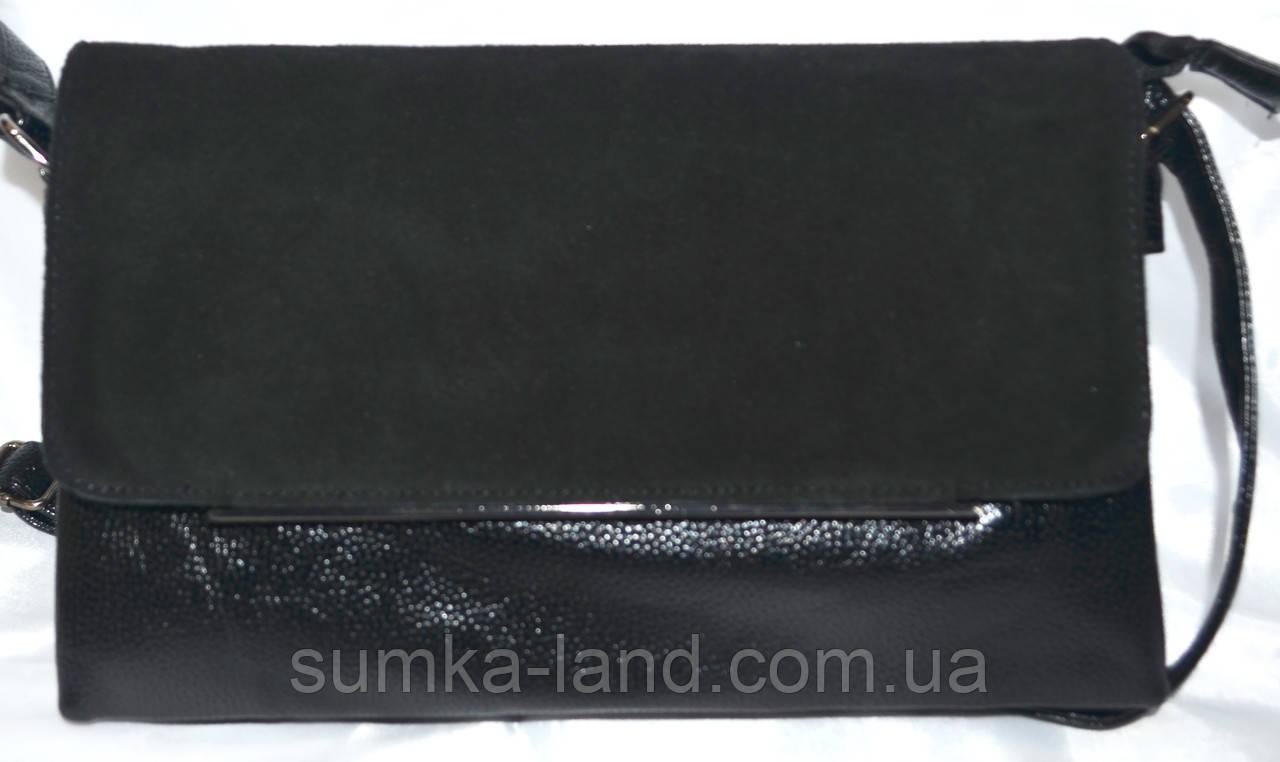 Женский черный клатч из натуральной замши 27*16 см (3 отдела внутри)