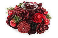 Подсвечник с декором из хвои и цветов, красный. 19 см, набор 6 штук