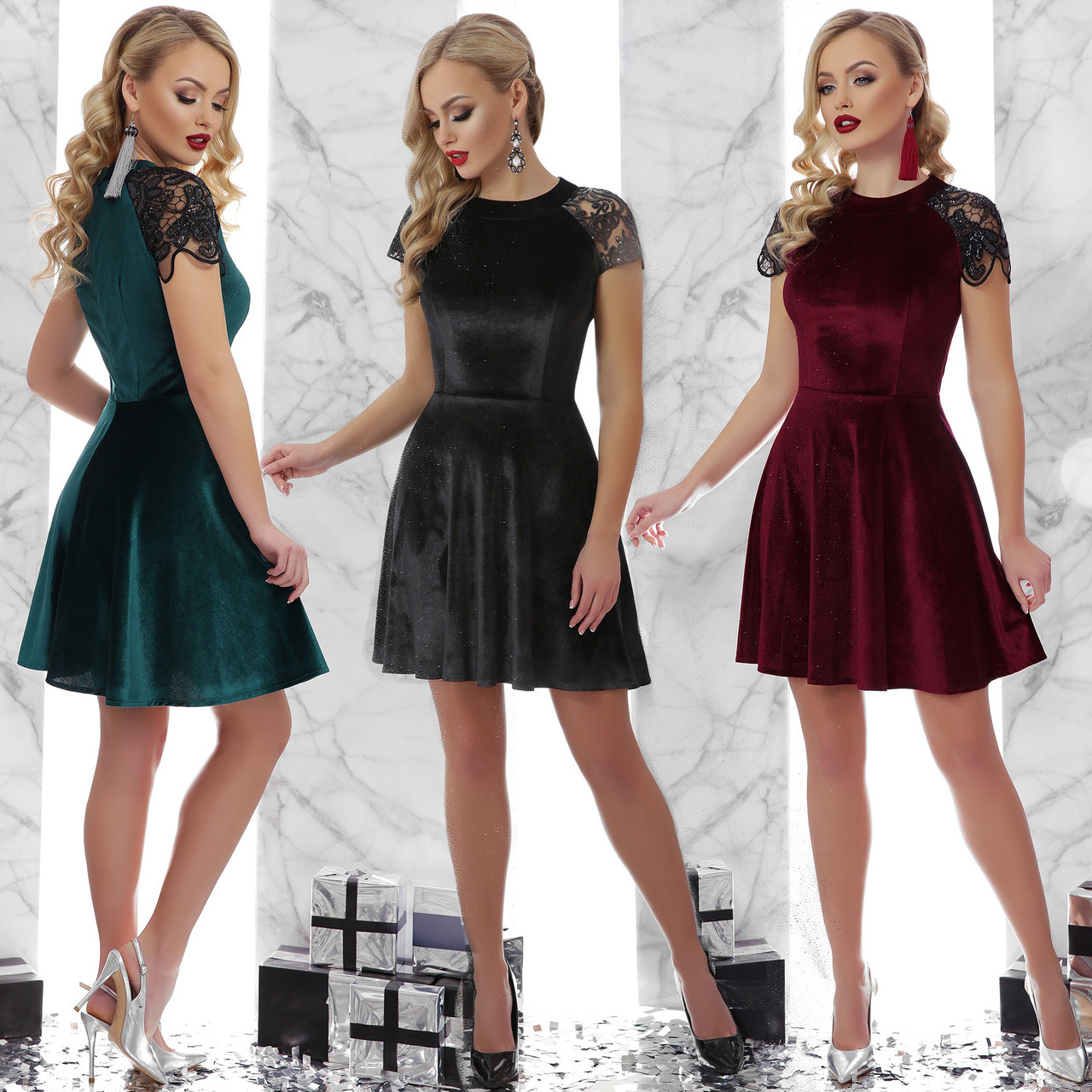 d6632267b37 Купить Нарядное короткое платье с пышной юбкой из велюра и кружева с ...