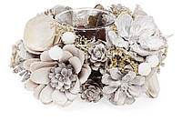 Подсвечник с декором из хвои и цветов, белый. 15 см, набор 6 штук