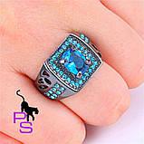 """Потрясный мужской перстень """"Малахит"""" с синими камнями, фото 2"""