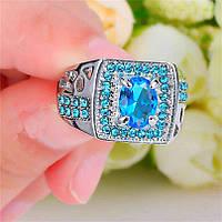 """Потрясный мужской перстень """"Малахит"""" с синими камнями"""