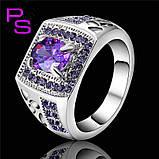 """Потрясный мужской перстень """"Малахит"""" с фиолетовыми камнями, фото 2"""