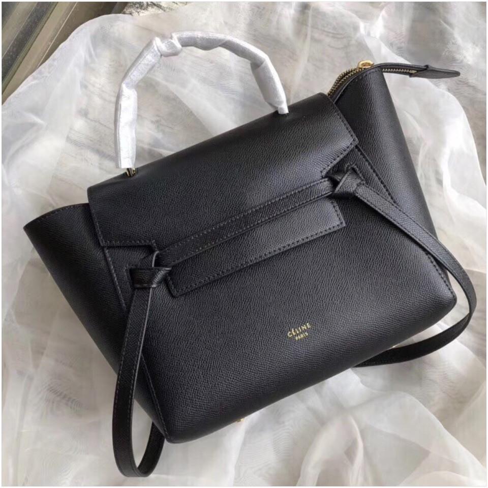 03cc17217acd Сумка женская Селин Belt, натуральная кожа сафьяно, 25 см, цвет черный
