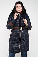 Длинная демисезонная женская куртка с капюшоном и поясом Китай 6010, фото 1