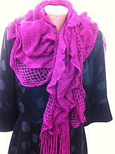 трикотажный  ажурный шарф кружевной вязки