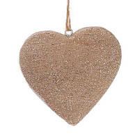 Елочное украшение Сердце 8см, цвет - шампань, набор 24 шт