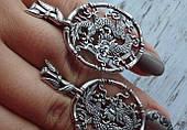 Серебряные серьги - подвески дракон
