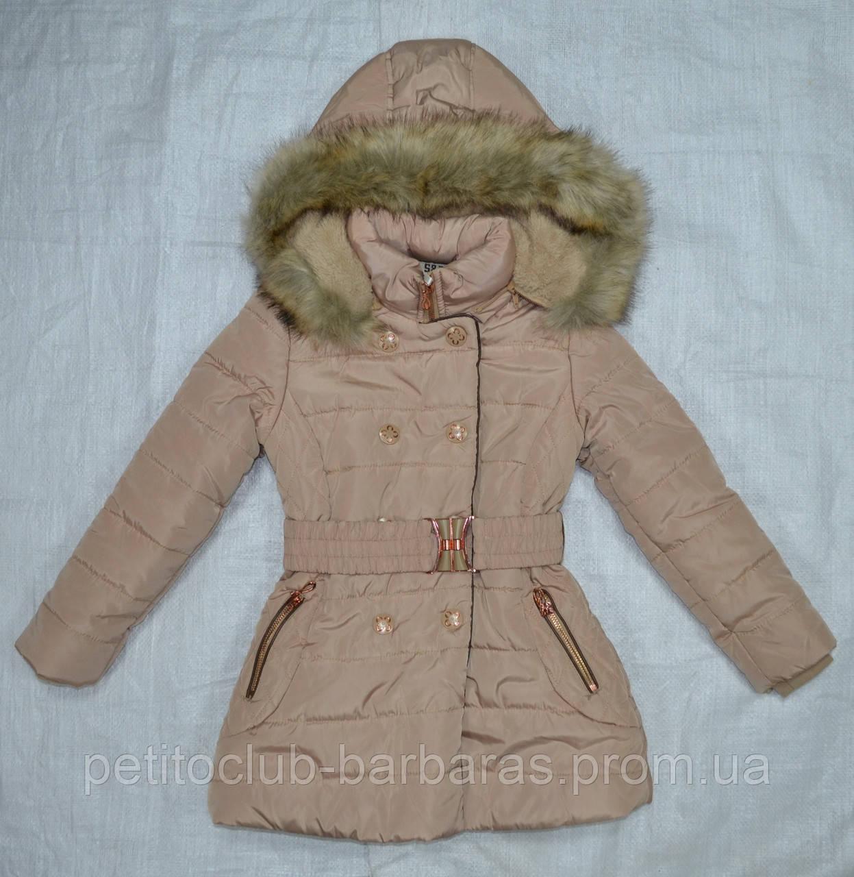 Куртка зимняя для девочки бежевая (S&D, Венгрия)
