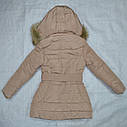 Куртка зимняя для девочки бежевая (S&D, Венгрия), фото 5