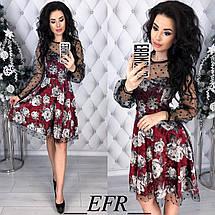 Платье бархатное с принтом цветы , фото 2