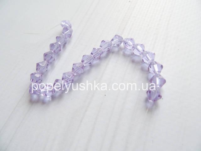 Намистини  біконус кришталеві (Чехія) Фіолетовий 6 мм (10 шт.)
