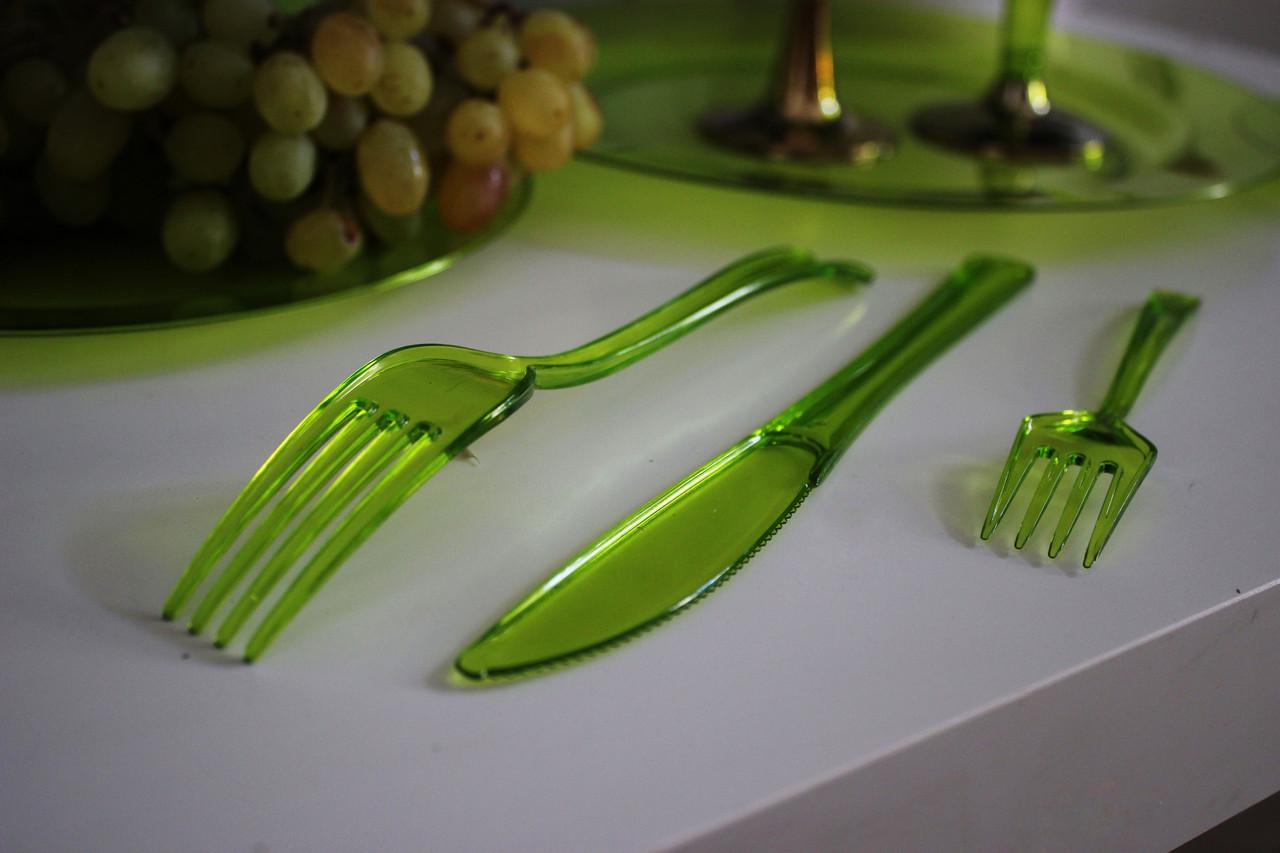 Нож одноразовый серебряный стеклопластик  для фуршета, банкета,  презентации, выставки 12 шт 200 мм CFP