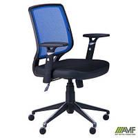 Крісло Онлайн Алюм сидіння Сітка чорна/спинка Сітка синя AMF