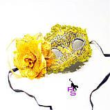 "Замечательная желтая маска ""Солнце""5229 с цветком, фото 3"