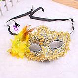 "Замечательная желтая маска ""Солнце""5229 с цветком, фото 4"