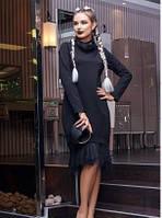 Платье-свитер миди черного цвета, платье красивое с длинным рукавом, платье стильное молодежное свободного кро