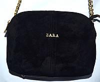 Женский черный клатч Zara из натуральной замши на 3 отделения 25*17 см, фото 1