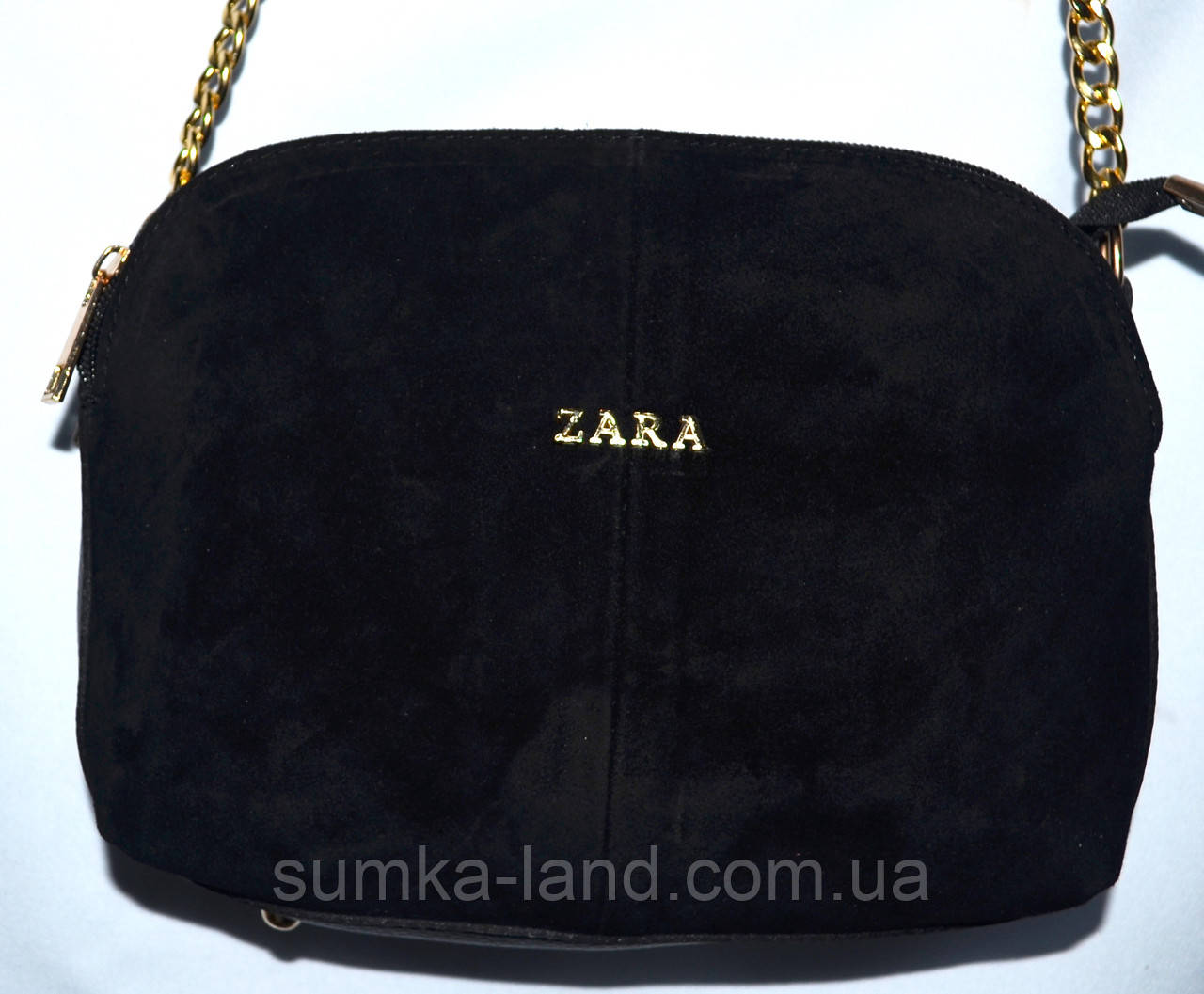 Женский черный клатч Zara из натуральной замши на 3 отделения 25*17 см