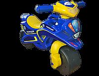 Детский двухколесный мотоцикл толокар музыкальный со светом Долони Doloni 0139/57 синий с желтым