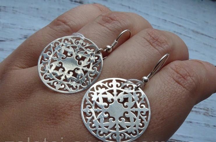Серебряные круглые серьги