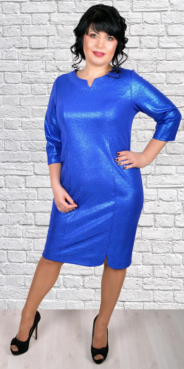 Нарядное платье с фигурным декольте, большие  размеры