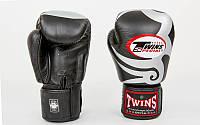 Перчатки боксерские кожаные на липучке TWINS FBGV-12S (р-р 10-16oz, черный-белый)