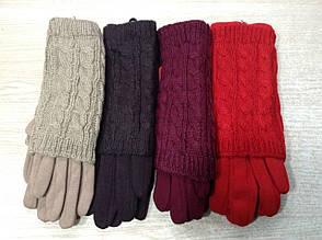 Модные теплые зимние женские перчатки с митенками красивой вязки