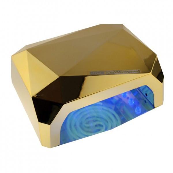 LED+CCFL гибридная лампа для гель лаков и геля (золотая).