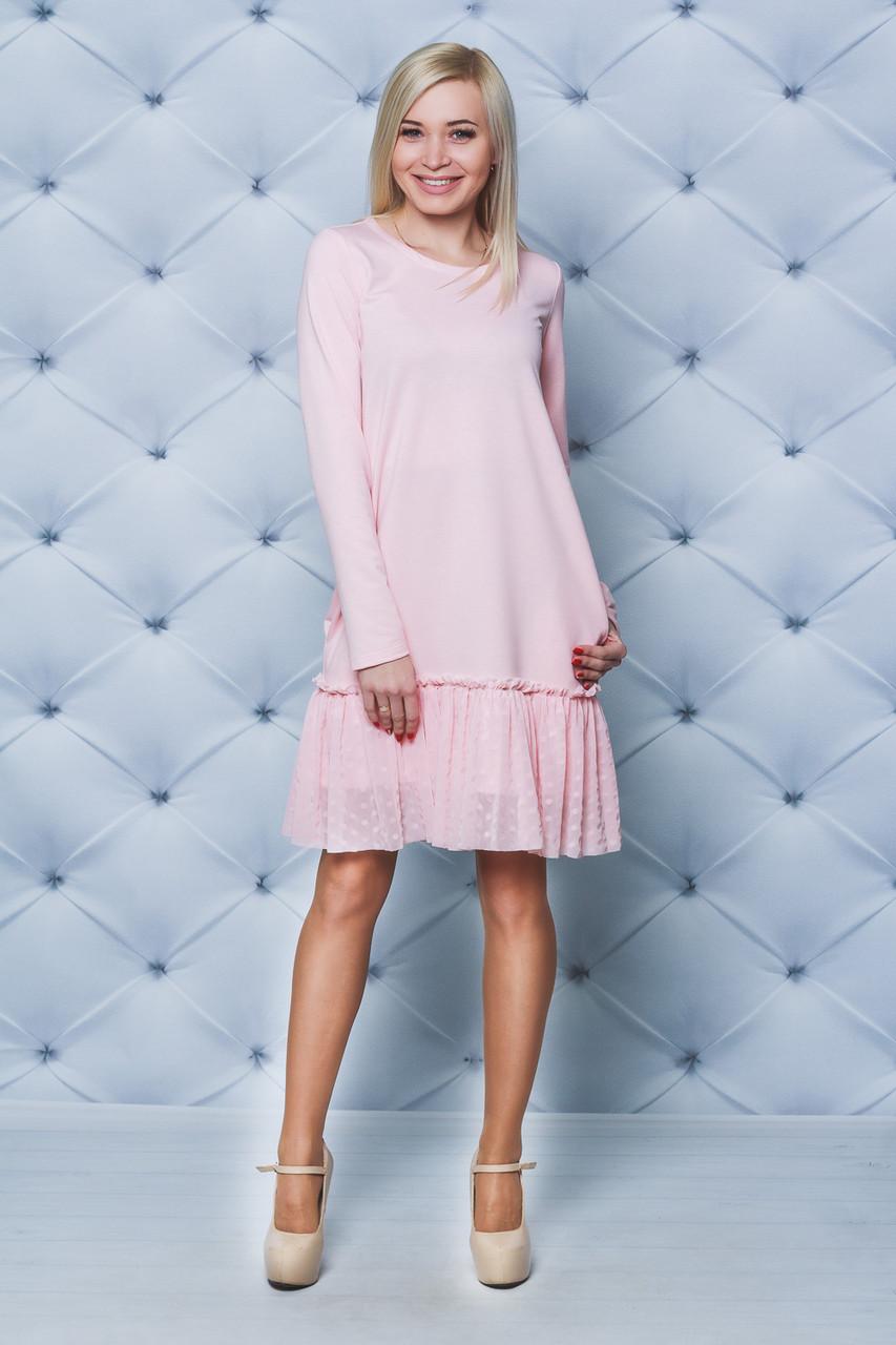 Платье трикотажное с рюшей персик