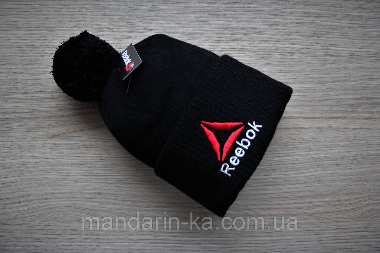 Шапка  мужская  зимняя черная на флисе   (реплика)