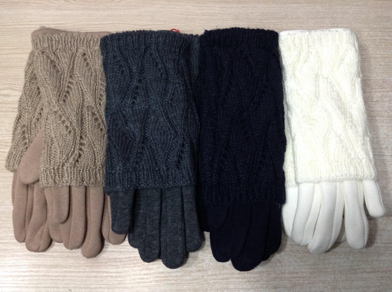 Модні подвійні зимові жіночі рукавички з мітенками ажурною в'язки
