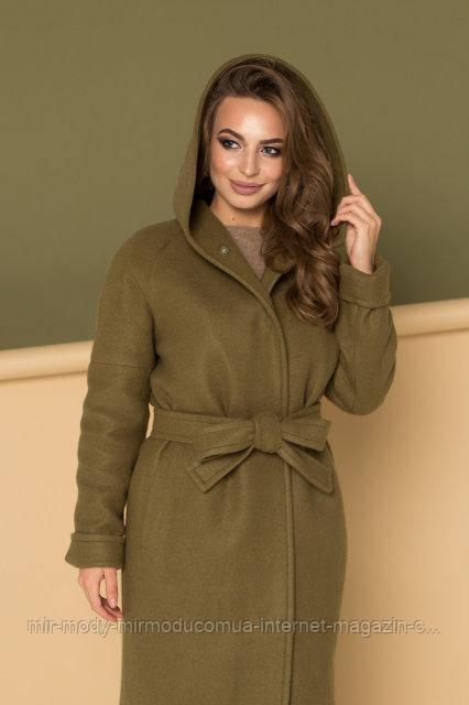 """Пальто зимнее с капюшоном  """"Комильфо"""" оливковый с 42 по 50 размер (девис)"""