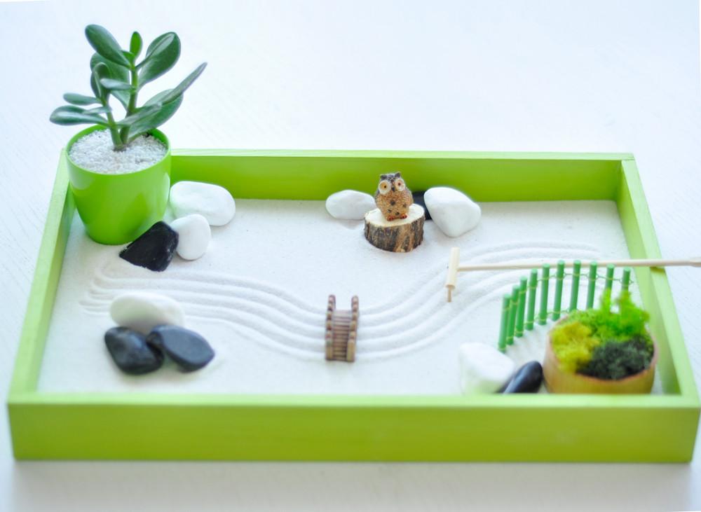 Японский сад камней Сад Дзен с совой, 27х40 см, салатовый