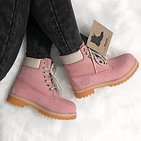 """Зимние ботинки на меху Timberland 6-inch Premium Gum """"Pink"""" (Розовые)"""