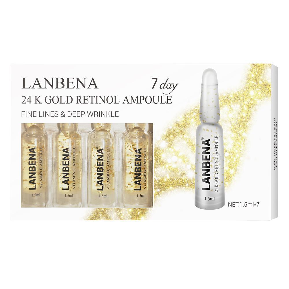 Набор омолаживающих сывороток с биозолотом и Ретинолом Lanbena ampoule 7 ампул*1.5ml