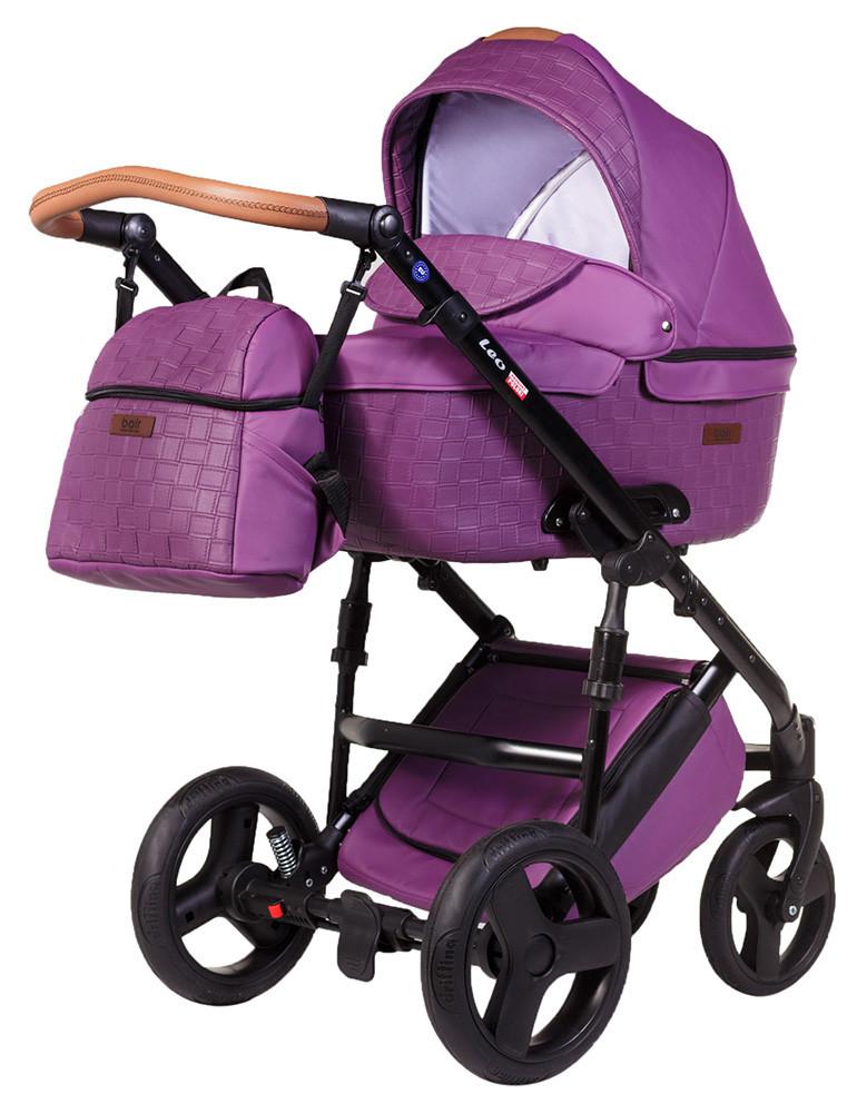 Коляска 2 в 1 Bair Leo кожа 100% G-34 фиолетовый (плетение)-фиолетовый
