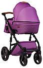 Коляска 2 в 1 Bair Leo кожа 100% G-34 фиолетовый (плетение)-фиолетовый, фото 3