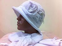 Белый  комплект   шляпка  с шарфом
