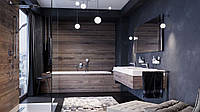 Темная ванная комната с деревом.